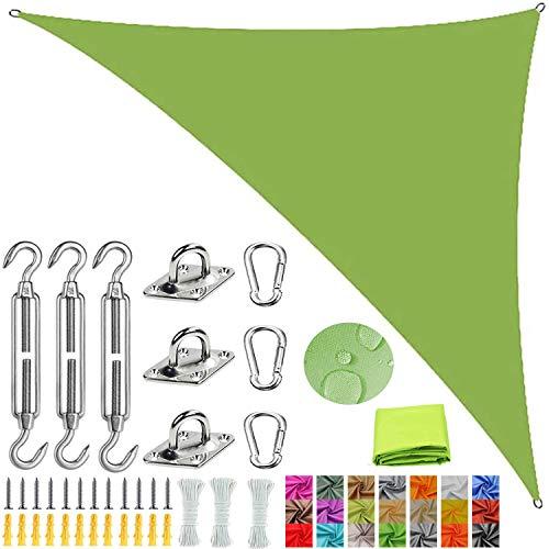 Bloque UV Impermeable Transpirable Patio Césped Jardín Camping Actividades al aire libre Sombrilla Vela Triángulo de ángulo recto Toldo con dosel con kits de fijación