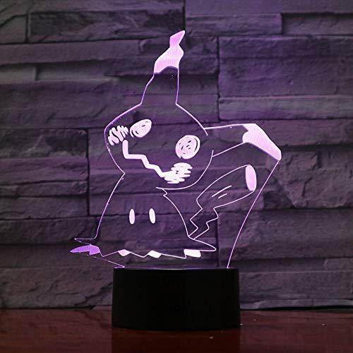 Luz de noche Led de regalo para niños Litten Pokemon Go Fire Cat luz de noche decoración de dormitorio para niños regalo de vacaciones lámpara de noche Led para bebé 3D