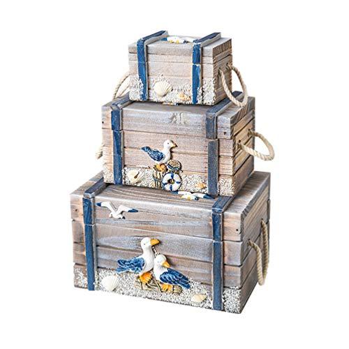Cabilock rustikale Muschel schmuckschatulle mediterranen Stil Holz schmuckschatullen Organizer Tabletop Dekoration (hellgrau)