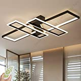 LED Ceiling Light Dimmable Modern Flush Mounted Living Room Light Chandelier 94W Aluminum Acrylic Creative Chic Design Ceiling Lamp Fixture Lighting Bedroom Lights Office Ceiling Light Lamp (Black)
