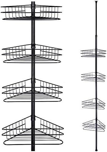 Aquaterior 4 Tier Metal Bathroom Telescopic Corner Shower Shelf Caddy Pole Wall Rack Storage product image