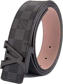 Men's fashion black plaid wild belt