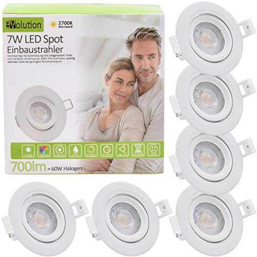 6x Evolution Foco empotrable LED 7W 700lm Proyector IP44 230V 40.5mm Baño y sala de estar abatibles 2700k Focos de techo
