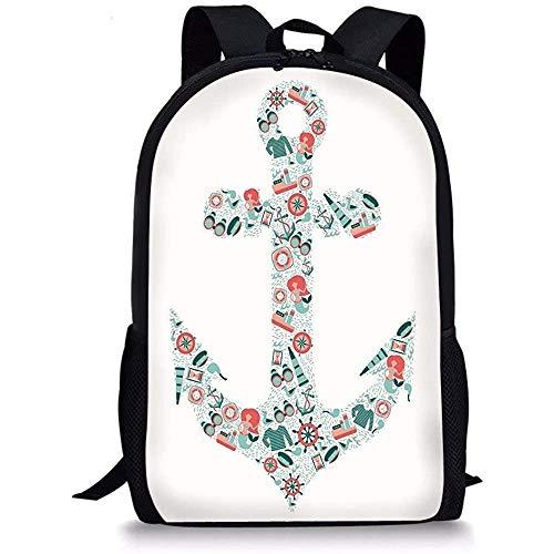 Hui-Shop Schultaschen Anker, nautische Symbolform mit Fernglas Captain Hat Com-Pass Meerjungfrau Figuren, Seafoam Coral Teal für Jungen Mädchen