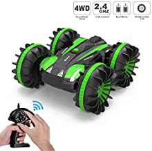 Tuptoel Rc Car, Water&Land 2 in 1 Remote Control Car Waterproof RC Truck 2.4Ghz 4WD Off Road Tank 360° Spins & Flips Beach Street Stunt Car, Gifts Toys for Boys