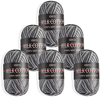 HellDoler Laine Multicolore pour Tricot,6 Pièces 50g Lain Crochet Lain a Tricot Fil Crochet Acrylique Coton Laine Fil à Tr...
