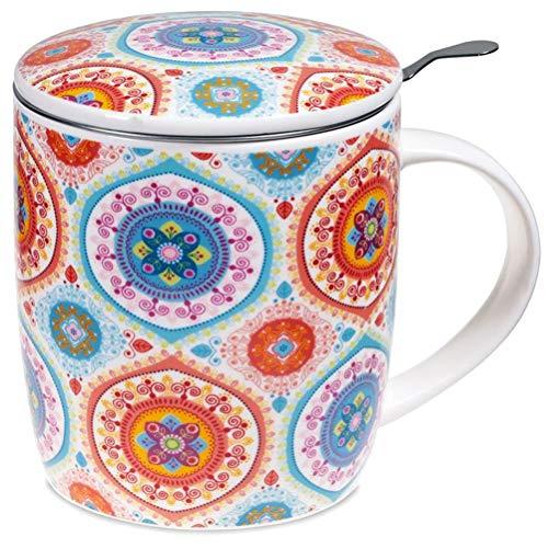 Satya Confezione Regalo Mug Mandala Blu con Tazza 400 CC, Coperchio e infusore Inox - Porcellana Bone China