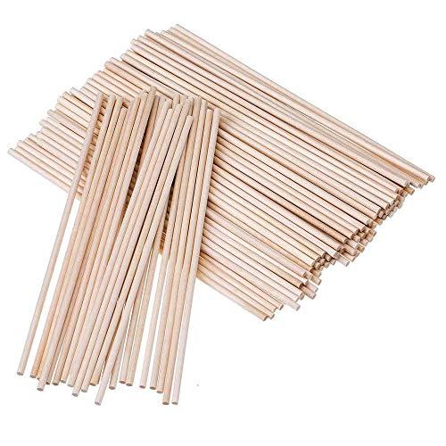 100 Piezas Madera Palos Redondos,Palos Madera Manualidades,Varillas de Madera de Bambú,Adecuado para Decoración, Proyectos infantiles, Manualidades y Manualidades