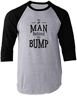 The Man Behind The Bump Father's Day Raglan Baseball Tee Shirt