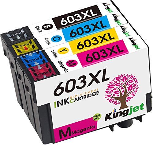 Kingjet 603XL Druckerpatronen Ersatz für Epson 603 603 XL Tintenpatronen für Epson Expression Home XP-3100 XP-4100 XP-2100 XP-2105 XP-3105 XP-4105 Workforce WF-2830 WF-2810 WF-2835 WF-2850