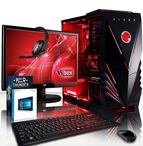 VIBOX Ultra 11LW Gaming PC Computer mit War Thunder Spiel Bundle, Windows 10 OS, 22 Zoll HD Monitor (3,4GHz AMD A8 Quad-Core Prozessor, Radeon R7 Grafik Chip, 8Go DDR4 2133MHz RAM, 1TB HDD)