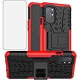 Phone Case for OnePlus 8T OnePlus8T Plus 5G with Tempered Glass Screen Protector Cover Hard Rugged Hybrid Cell Accessories One Plus8T On 1 Plus 8Tplus 1plus 8T+ One+ 1+ 1+8T Pro G5 Cases Black Red