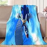 NUOMANAN Sonic The Hedgehog, juego de dibujos animados Sonic Hedgehog (5) mantas de bebé de forro polar unisex para niños, niñas, niños, bebés, recién nacidos, 177 x 228 cm, fácil de cuidar