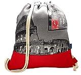 Drawstring Backpack Handmade Spain, EUROPE - Rucksack for Boys,Girls - Cotton - High Quality Sewing (Black interior)