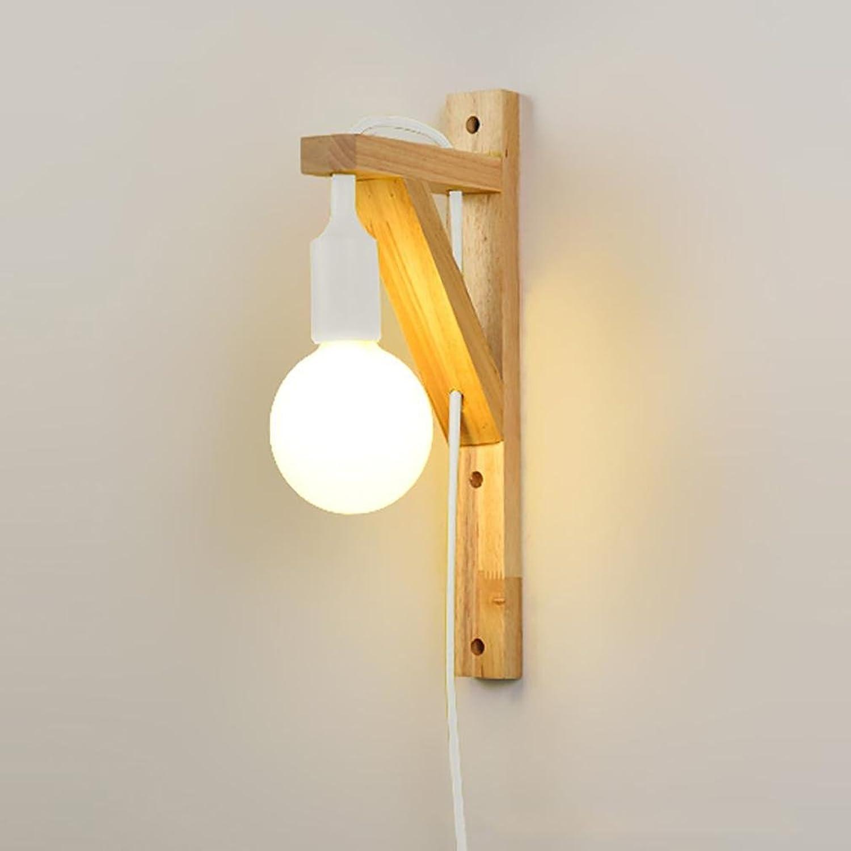Led Wandleuchte Massivholz Moderne Schlafzimmer Nacht Wohnzimmer Beleuchtung mit Schalter Stecker (einschlielich LED Birne)