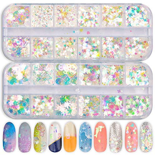 Ebanku 24 Boxes Holographic Nail Sequins Iridescent Mermaid Flakes Colorful Nail Art Glitter Sticker Multi-Shapes Thin DIY Decals Decoration for Face Hair Body Eyes