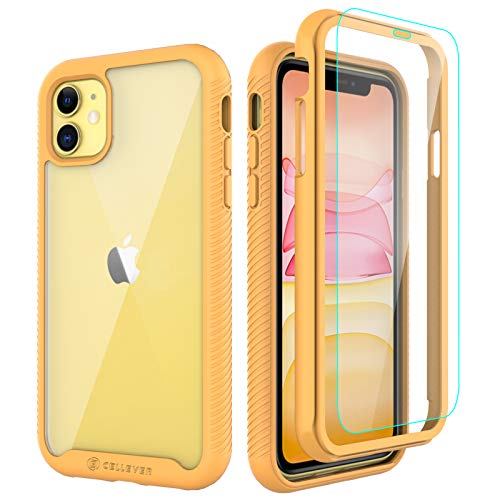 CellEver Compatible with iPhone 11 Case, Clear Full Body Heavy Duty Protective Case Anti-Slip Full Body Transparent Cover Designed for iPhone 11 (2X Glass Screen Protector Included) - Yellow