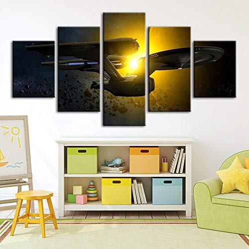 GTomorrow Bilder StarTrek Enterprise, Raumschiff 5-Teilig, Wandbilder Wohnzimmer Wohnung Deko Fertig Zum Aufhängen 150X80Cm(B)