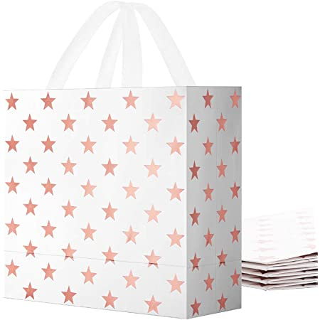 PACKQUEEN 6 Gift Bags 10x4.5x10 Inches, Medium Gift Bags with Handles, Recyclable Paper Gift Bags Bulk,Rose Gold Star Party Favor Gift Bags for All Occasions