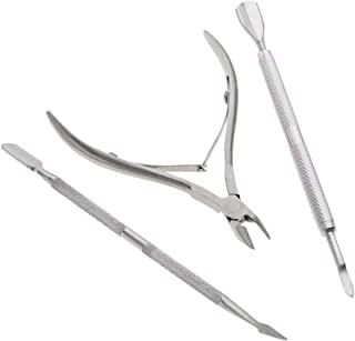 SNW 3Pcs/Set Stainless Steel Nail Cuticle Pusher Spoon Remover Cutter Nipper Clipper Nail Scissors Nail Art Tools For Manicure