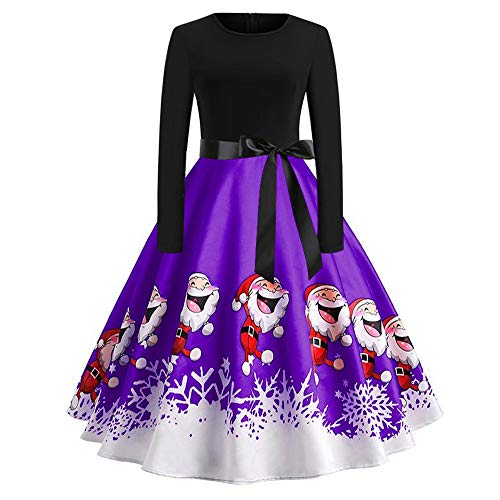 Xmiral Weihnachten Kleid Damen Elegant Vintage Xmas Print Langarm Abend Party Kostüm (XXL,Violett1)