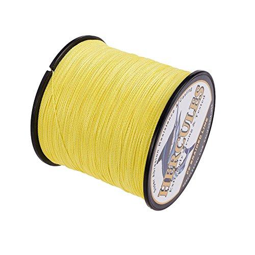 HERCULES Braided Fishing Line 100m 109yds 6lbs-100lbs Pe Superline 4 Strands (Yellow 10lb/4.5kg 0.12mm)