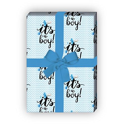 Kartenkaufrausch Hellblaues Baby Geschenkpapier Set mit Schnuller