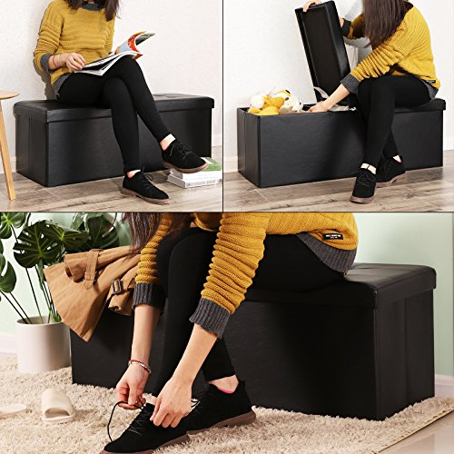 SONGMICS 43 Inches Folding Storage Ottoman Bench, with Flipping Lid, Storage Chest, Padded Seat Footrest, with Iron Frame Support, Black ULSF75BK