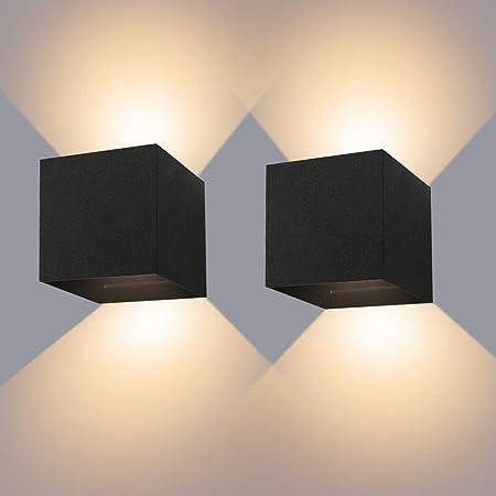 Applique Murale Interieur/Exterieur 12W* 2 Lampes Murales Noires LED Etanches IP65 Réglable Lampe Lumière orientable haut et bas Design 3000K Blanc Chaud Appliques Murales pour Salon Chambre Couloir