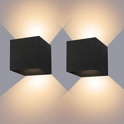 Applique Murale Interieur/Exterieur 12W* 2 Lampes Murales Noires LED Etanches IP65 Réglable Lampe Lumière orientable ...