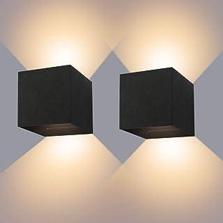 LEDMO Lampara De Pared 12W, Aplique De Pared Exterior Impermeable IP65 Con Luz Blanco Cálido 3000K Para Interior Exterior Apliques