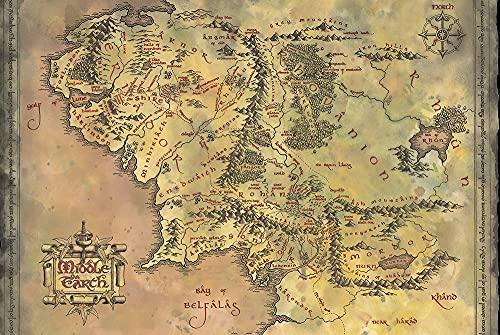 1art1 El Señor De Los Anillos - Mapa De La Tierra Media Póster (91 x 61cm)