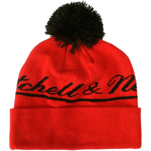 Mitchell & Ness - Bonnet Homme M&N Script Cuffed Knit - Red/Black
