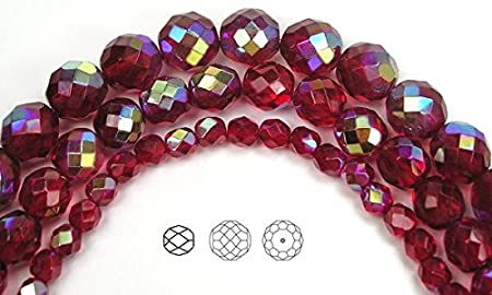 50 6mm Red Clear Mix Czech Glass Faceted Firepolish Beads