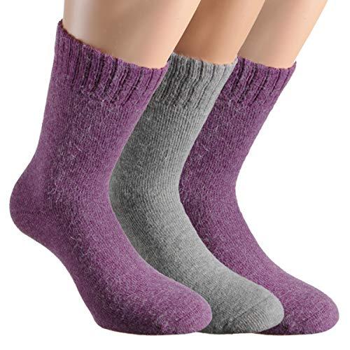 Vitasox 13352 Damen Socken Angora Damensocken Wollsocken Angorasocken Wintersocken einfarbig mit Innenfrottee ohne Naht 2xlia 1xgrau 39/42