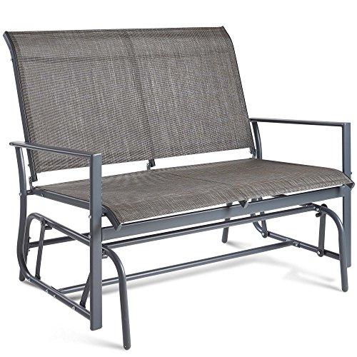 VonHaus 2 Seater Garden Glider Bench – Grey Textoline/Mesh Fabric Swing Rocking Seat – For Outdoor Decking, Balcony, Patio Or Terrace