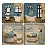 VIIVEI Vintage Retro Teal Bathroom Canvas Poster Wall Art Decor...