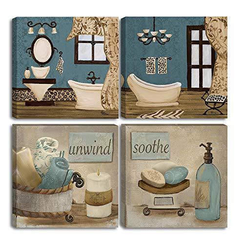 VIIVEI Stampe su tela per pareti del bagno con cornice Pronto da appendere Teal Blue Wall Decor Dipinti vintage Poster Great Gift Home Artwork (12 'x12', 09 Decorazioni per il bagno)