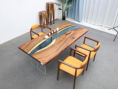 Mesa de resina epoxi, tablero de madera maciza con mezcla de resina epoxi, adecuada como mesa de oficina o comedor XXL (número único E0204 200 x 90 x 73 cm)