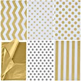 JOYIN 150 Piece Christmas Metallic Silver and Gold Tissue Paper Assortment (20' x 20' inches) Holiday Gold Gift Wrapping for Party Favors Goody Bags, Xmas Presents Wrapping Stocking Stuffers