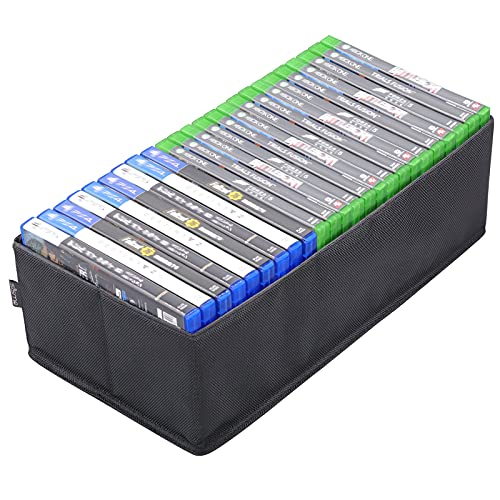 sisma Video Games Organizer for Xbox One PS5 PS4 Game Disc, Holds Around 22 - 25 Games, Home Games Storage Box Foldable Case