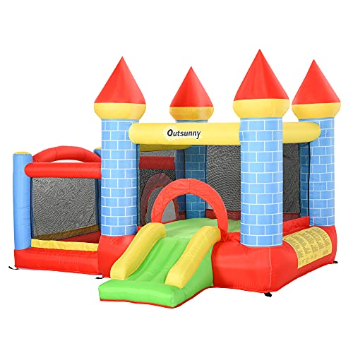 Outsunny Kids Bounce Castle House Inflatable Trampoline Slide Water Pool Basket 4 in 1 with Inflator for Kids Age 3-10 Castle Design 3 x 2.75 x 2.1m