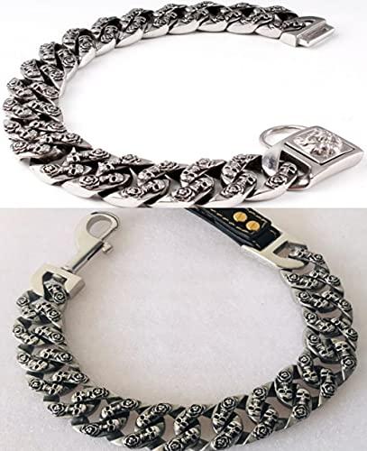 Collar de acero inoxidable para perro con diseño de calavera Pitbull Bulldog Collar de plomo de 32 mm de oro pesado para mascotas Collar de cadena de perro grande - Correa plateada_L