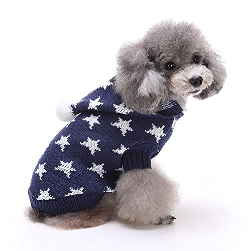 EgBert Christmas Star Winter Warm Sweater for Pet Dog Cat Hoodie Pappy Jumpsuits with Hat - Blau - S