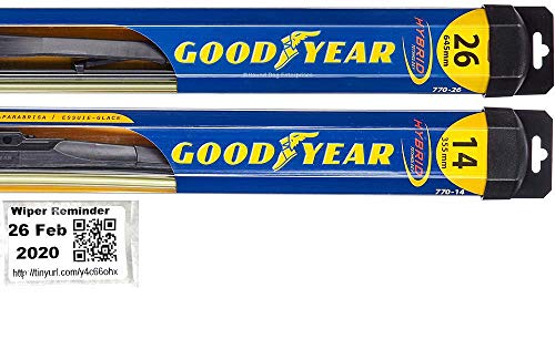 Hybrid - Windshield Wiper Blade Set/Kit/Bundle for 2013-2019 Buick Encore - Driver & Passenger Blades & Reminder Sticker