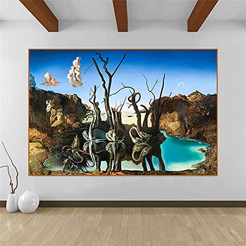 Salvador Dali cygnes reflétant les éléphants abstrait toile peinture affiches et impression mur art photo salon décor 60x110cm (24x43in) sans cadre