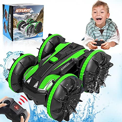 Spielzeug für 5-10 Jahre alte Jungen Ferngesteuertes Auto Amphibien RC Auto für Kinder 2,4GHz Fernbedienung 360°Drehung Off Road Wasserdicht 4WD Fernbedienungsfahrzeug Weihnachten Geburtstag Geschenke