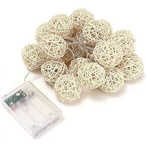 YuKeShop Bola de ratán de hadas luz cadena luces 3 m 20 LEDs blanco cálido guirnalda 4 cm diámetro bola para decoración de vacaciones hadas luces de Navidad