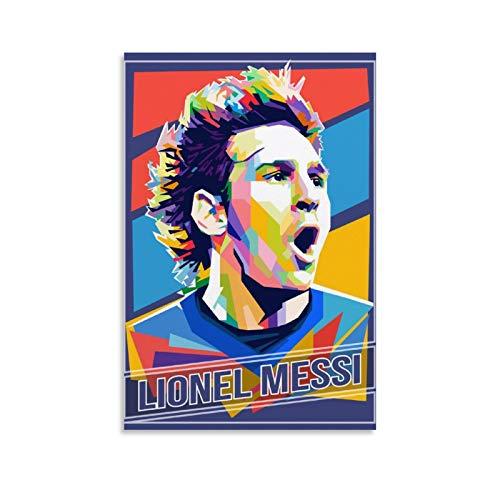 WODEWO Póster deportivo HD de Lionel Messi, diseño de jugador de fútbol de Superestrella de fútbol Lionel Messi, cuadro decorativo de pared, lienzo para sala de estar, dormitorio, 30 x 45 cm