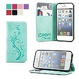 COOVY® Custodia per Apple iPhone 5 / 5s / SE Portafoglio Scomparti per Carte, Chiusura Magnetica, Basamento, Protettiva per Schermo | Flower | Colore Verde